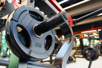 Gym interior with barbell