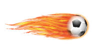Flying football or soccer ball on fire.