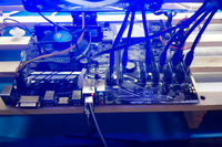 Mining farm of several video cards. The farm is mining at home.