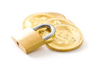 The golden bitcoin. Cryptocurrency and padlock.