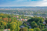 Aerial view over Dresden and the river Elbe