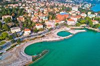 Slatina beach in Opatija aerial panoramic view