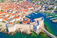 Dubrovnik historic town and harbor aerial view