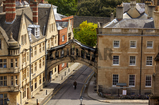 The view from the cupola of Sheldonian Theatre to the Hertford bridge. Oxford University. England