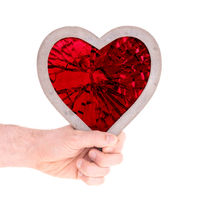 Adult holding heart filled with a large red ruby