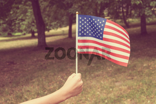 Child waving american flag on the park