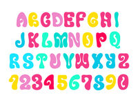 Colorful psychedelic hippie alphabet isolated on white