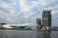 Modern architecture of Eye film Instituut in Dutch Amsterdam harbor