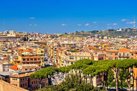 Rome rooftops and colorful cityscape panoramic view