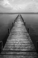 Wooden pier at silence lake, monochrome shoot