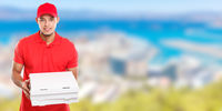 Pizza delivery latin man boy order delivering job deliver box young banner copyspace copy space