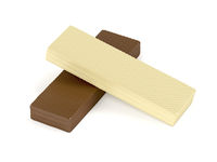 White and brown chocolate wafers