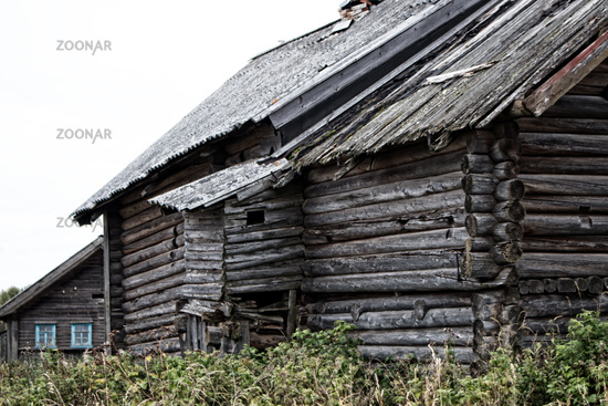 Russian old village on the edge of the forest