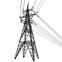 Silhouette of high voltage power lines on white background illustration