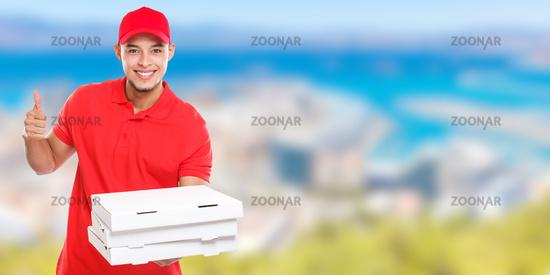 Pizza delivery latin man order delivering job success successful smiling deliver banner copyspace copy space