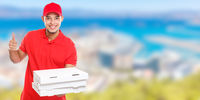 Pizza delivery latin man order delivering job success successful smiling deliver banner copyspace copy space