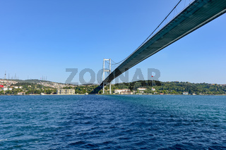 View of the historic city of Istanbul and its bridge over the Bosphorus