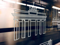 Illustration of the Brandenburger Tor on subway train window in BVG metro train in Berlin, Germany