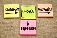 stimulant, choice, response and freedom concept