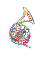 Watercolor french horn