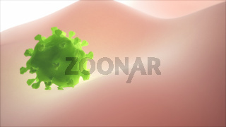 Virus Attached To A Lymphocyte ( White Blood Cell ) Surface. Infection And Immunodeficiency Concept, 3D Render