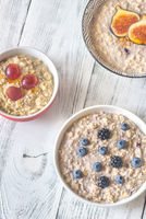 Three bowls of oatmeal