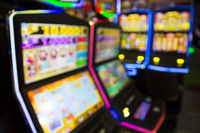 Blurred Slot machines in a casino