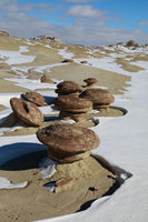 Ah-Shi-Sle-Pah Wilderness Study Area in winter with funny stone figures ,New Mexico,USA
