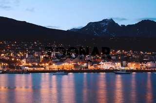 City of Ushuaia at the night.