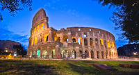 Colosseum of Rome evening panoramic view