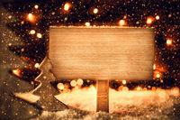 Christmas Tree, Snow, Copy Space, Snowflakes, Retro Sign