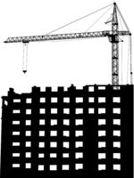 Silhouettes of crane on building on a white background