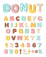 Donut icing latters, font of donuts. Bakery sweet alphabet. Letters and numbers. Donut alphabet and numbers, isolated on white background