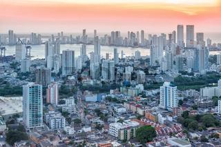 Cartagena skyline Colombia city skyscrapers sunset twilight