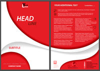 Red Flyer Template with White Abstract Shapes