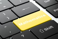 Learning concept: Mathematics on computer keyboard background