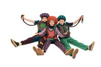 Girls in colorful costumes and hats isolated view