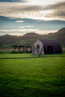 A Glamping Pod in Rural Scotland at Sunset