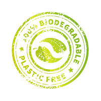 Biodegradable icon, bright green Plastic free round symbol with leaves and grunge texture isolated on white