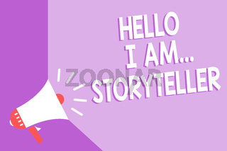 Word writing text Hello I Am... Storyteller. Business concept for introducing yourself as novels article writer Megaphone loudspeaker purple background important message speaking loud.