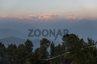 The Himalayas from Nagarkot in Nepal