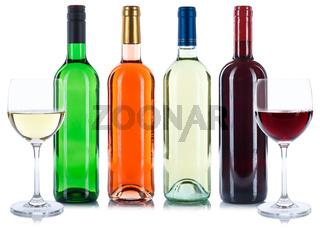 Wein Flaschen Weinflaschen Sammlung Rotwein Rose Weißwein Weisswein Weine freigestellt Freisteller
