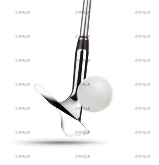 Chrome Golf Club Wedge Iron Hitting Golf Ball on White Background