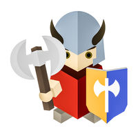 a small geometric cubic knight with his axe