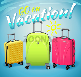 Concept of summer vacation, bright multicolored suitcases with inscription.