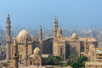 Aerial view of Cairo city from Salah Al Deen Citadel (Cairo Citadel) with Sultan Hassan and Al Rifai Mosques, Cairo, Egypt