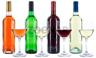 Weinflaschen Weinglas Wein Flaschen Weinprobe Glas Rotwein Weißwein Rose Alkohol freigestellt Freisteller