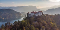 Medieval castle on Bled lake in Slovenia in autumn.