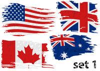 Torn Flag Set US, GB, Can, Australia