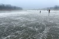 Skating on frozen lake